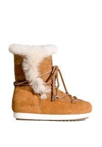 Brązowe buty zimowe Moon Boot z cholewką, boho