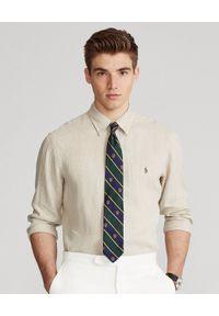 Ralph Lauren - RALPH LAUREN - Beżowa koszula z lnu Custom Fit. Typ kołnierza: button down, polo. Kolor: beżowy. Materiał: len. Wzór: haft