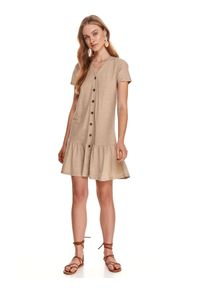 Beżowa sukienka TOP SECRET koszulowa