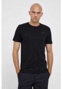 4f - 4F - T-shirt bawełniany. Okazja: na co dzień. Kolor: czarny. Materiał: bawełna. Wzór: gładki. Styl: casual