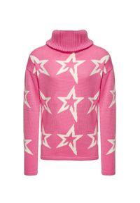 Różowa bluza Perfect Moment retro, z golfem