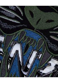 Kenzo - KENZO - Bawełniana bluza Tiger. Kolor: czarny. Materiał: bawełna. Długość rękawa: długi rękaw. Długość: długie. Wzór: kwiaty, haft, aplikacja. Styl: klasyczny