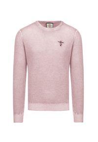 Różowy sweter Aeronautica Militare z haftami, klasyczny, na zimę