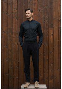 Czarna koszula VEVA długa, na spotkanie biznesowe