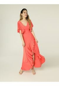 Madnezz - Sukienka Juanita - koral. Kolor: pomarańczowy. Materiał: elastan, wiskoza. Typ sukienki: kopertowe. Styl: wakacyjny. Długość: midi