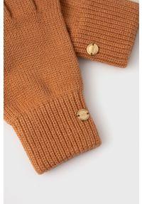 Roxy - Rękawiczki. Kolor: brązowy. Materiał: dzianina. Wzór: gładki