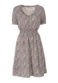 Born2be - Fioletowo-Zielona Sukienka Amasis. Okazja: na co dzień. Kolor: fioletowy. Wzór: kwiaty. Styl: casual. Długość: mini