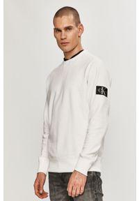Biała bluza nierozpinana Calvin Klein Jeans bez kaptura, na co dzień
