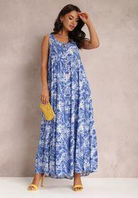 Renee - Granatowa Sukienka Fumezi. Kolor: niebieski. Materiał: tkanina. Długość rękawa: na ramiączkach. Wzór: aplikacja. Styl: klasyczny. Długość: maxi