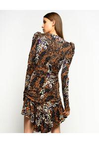 Pinko - PINKO - Asymetryczna sukienka z falbanami Burrascoso. Typ kołnierza: dekolt w kształcie V. Kolor: brązowy. Materiał: dzianina, wiskoza. Wzór: nadruk, kwiaty. Typ sukienki: asymetryczne. Styl: klasyczny. Długość: mini