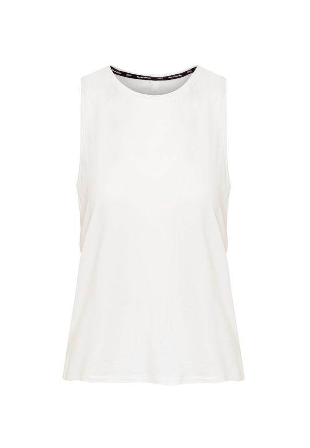 Biała koszulka termoaktywna On Running z dekoltem na plecach, na fitness i siłownię