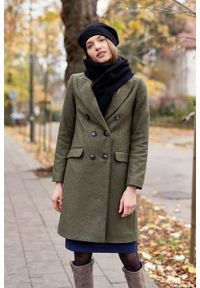 Marie Zélie - Płaszcz wełniany Debora ciemnozielony. Kolor: zielony. Materiał: wełna. Wzór: ze splotem, motyw zwierzęcy. Sezon: zima. Styl: klasyczny