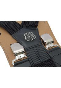 Modini - Szerokie czarne szelki męskie do spodni - Route 66 T18. Kolor: czarny. Materiał: skóra, guma
