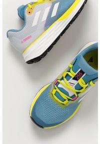 Niebieskie buty trekkingowe adidas Performance z okrągłym noskiem, na sznurówki, z cholewką