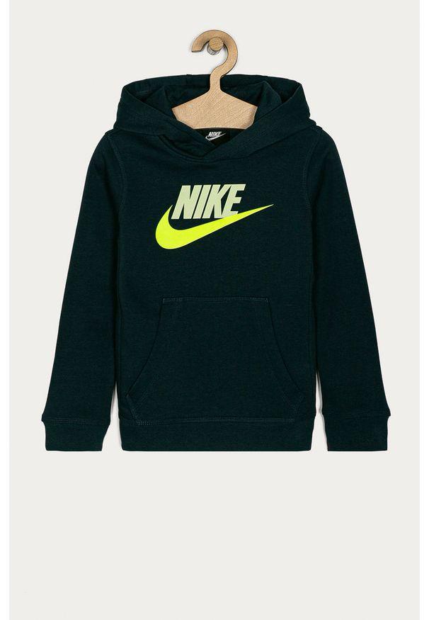 Niebieska bluza Nike Kids z nadrukiem, na co dzień, z kapturem, casualowa