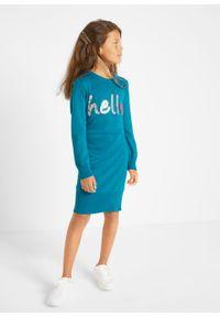 Sukienka dziewczęca dzianinowa z cekinami bonprix morski turkusowy. Kolor: niebieski. Materiał: dzianina. Wzór: aplikacja