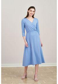 Niebieska sukienka Marie Zélie na jesień, z krótkim rękawem