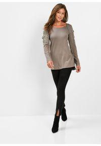 Brązowy sweter bonprix długi, z aplikacjami