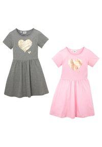 Sukienka dziewczęca z dżerseju, krótki rękaw (2 szt.) bonprix pudrowy jasnoróżowy + jasnoszary melanż. Kolor: różowy. Materiał: jersey. Długość rękawa: krótki rękaw. Wzór: melanż #6
