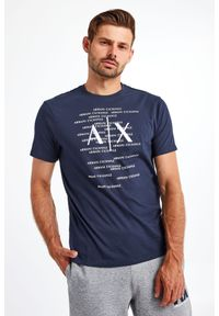 Armani Exchange - T-SHIRT ARMANI EXCHANGE. Materiał: bawełna. Długość rękawa: krótki rękaw. Długość: krótkie. Wzór: napisy, haft