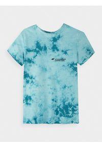Turkusowy t-shirt 4f z nadrukiem