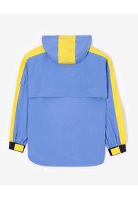 Kenzo - KENZO - Niebieska kurtka wiatrówka. Kolor: niebieski. Materiał: materiał. Długość rękawa: długi rękaw. Długość: długie. Wzór: aplikacja. Styl: retro
