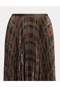 Ralph Lauren - RALPH LAUREN - Plisowana spódnica midi w kratę. Kolor: brązowy. Materiał: materiał. Wzór: aplikacja