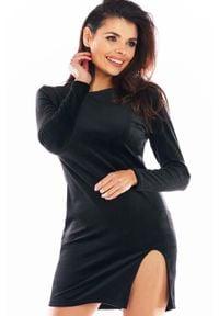Awama - Ołówkowa Mini Sukienka Welurowa z Rozporkiem - Czarna. Kolor: czarny. Materiał: welur. Typ sukienki: ołówkowe. Długość: mini