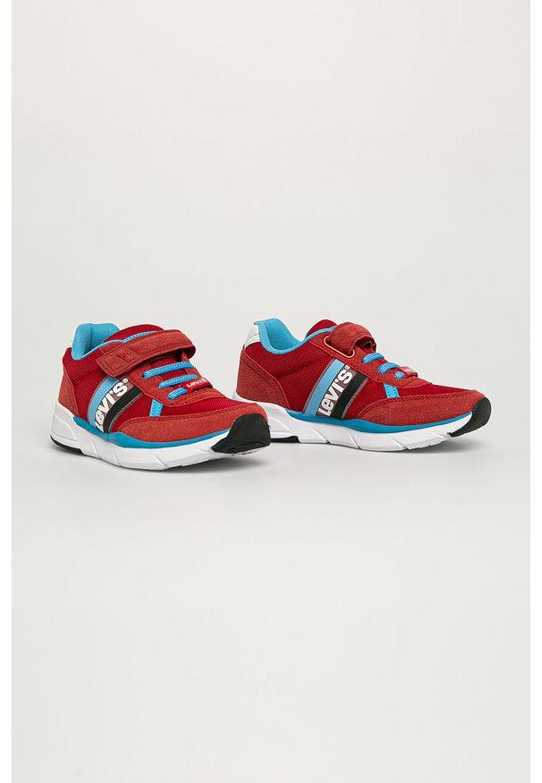 Czerwone buty sportowe Levi's® w kolorowe wzory, na spotkanie biznesowe, z cholewką, na rzepy