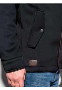 Czarny płaszcz Ombre Clothing z kapturem