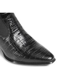 Czarne botki vagabond na obcasie, na średnim obcasie, z cholewką