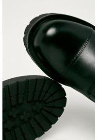 Czarne botki TwinSet z cholewką, z okrągłym noskiem, bez obcasa