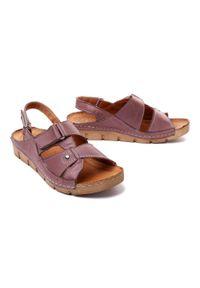 Łukbut - ŁUKBUT 554 wrzos, sandały damskie. Zapięcie: rzepy. Kolor: fioletowy. Materiał: skóra. Obcas: na koturnie