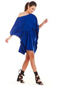 Infinite You - Niebieska Kimonowa Sukienka z Paskiem. Kolor: niebieski. Materiał: poliester, elastan