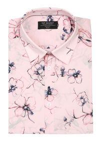 TOP SECRET - Koszula z nadrukiem w kwiaty. Kolor: różowy. Długość rękawa: krótki rękaw. Długość: krótkie. Wzór: kwiaty, nadruk. Sezon: lato, wiosna. Styl: wakacyjny
