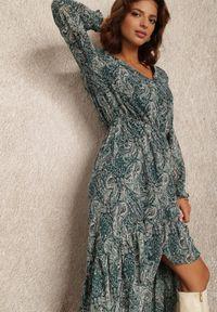 Renee - Zielona Sukienka Maeranthe. Kolor: zielony. Materiał: tkanina, materiał. Długość rękawa: długi rękaw. Wzór: paisley