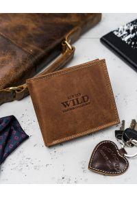 ALWAYS WILD - Portfel męski koniakowy Always Wild N992-CHM COGNAC. Materiał: skóra