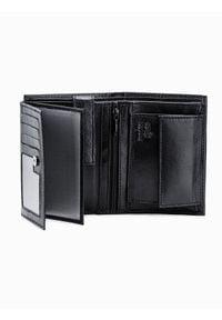 Ombre Clothing - Portfel męski skórzany A367 - czarny - uniwersalny. Kolor: czarny. Materiał: skóra