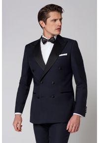 Niebieska marynarka Lancerto elegancka, na ślub cywilny