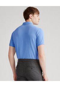 Ralph Lauren - RALPH LAUREN - Niebieska koszulka Mesh Slim Fit. Typ kołnierza: polo. Kolor: niebieski. Materiał: mesh. Długość: długie. Wzór: haft