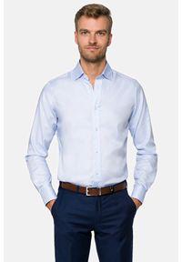 Lancerto - Koszula Niebieska Jenna. Okazja: na co dzień. Kolor: niebieski. Materiał: bawełna, tkanina. Wzór: haft. Styl: wizytowy, casual