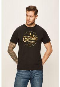 Czarny t-shirt columbia na co dzień, z okrągłym kołnierzem, casualowy