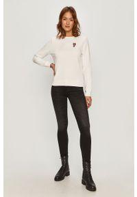 Biała bluza Karl Lagerfeld długa, casualowa, z długim rękawem