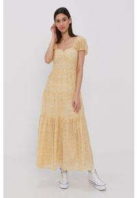 Billabong - Sukienka. Kolor: żółty. Materiał: tkanina. Długość rękawa: krótki rękaw. Typ sukienki: rozkloszowane