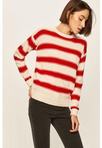 Kremowy sweter ANSWEAR na co dzień, z okrągłym kołnierzem, casualowy