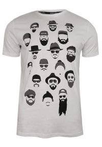 Brave Soul - Biały T-Shirt (Koszulka) z Nadrukiem -BRAVE SOUL- Męski, Brodacz, Okrągły Dekolt, Barber, Twarze. Okazja: na co dzień. Kolor: biały. Materiał: bawełna. Wzór: nadruk. Styl: casual