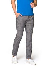 Lancerto - Spodnie Szare w Kratę Connor. Kolor: szary. Materiał: tkanina, elastan, poliester, wiskoza, materiał. Styl: elegancki, sportowy
