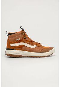Brązowe sneakersy Vans na sznurówki, z cholewką, z okrągłym noskiem