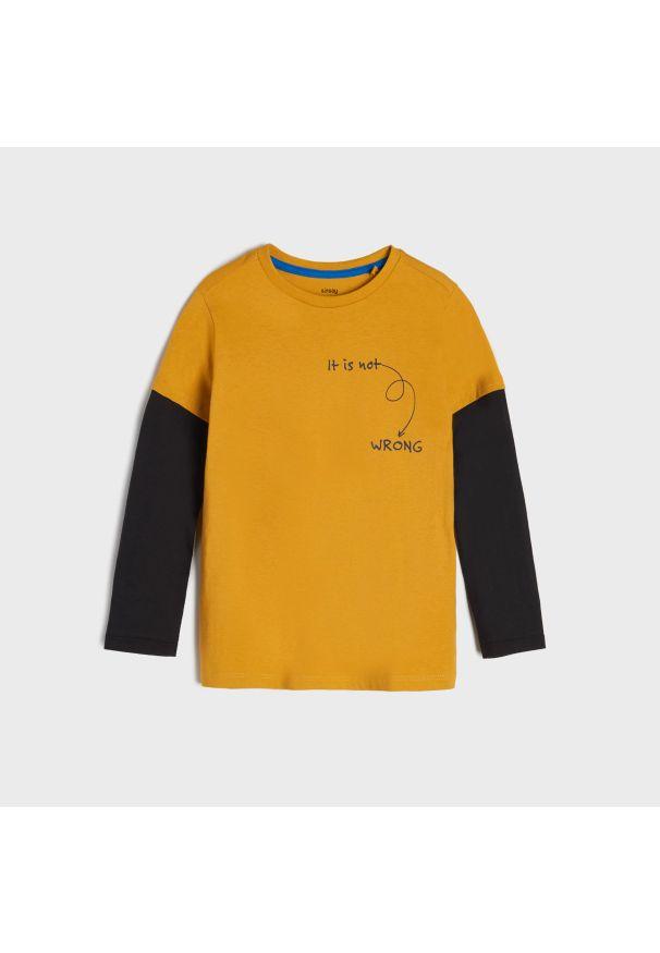 Sinsay - Koszulka z podwójnym rękawem - Żółty. Kolor: żółty