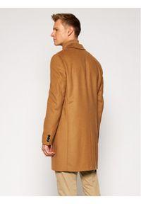 TOMMY HILFIGER - Tommy Hilfiger Tailored Płaszcz wełniany Wool Blend TT0TT08117 Brązowy Regular Fit. Kolor: brązowy. Materiał: wełna #7